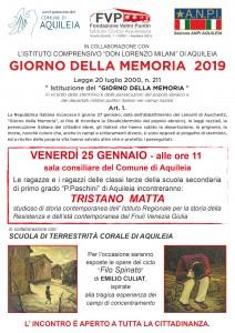 GIORNO DELLA MEMORIA AQUILEIA 25 gennaio 2019 LOCANDINA